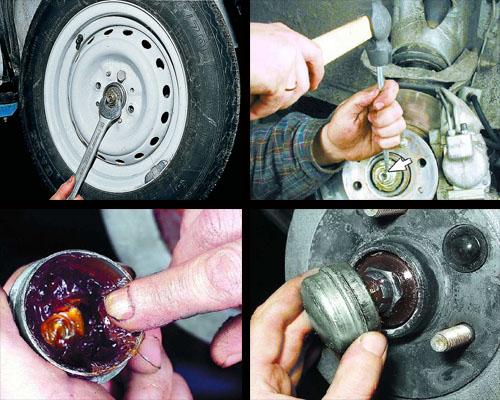 регулировка зазора в подшипниках ступиц передних колес
