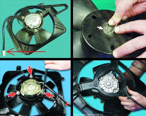 снятие и установка вентилятора радиатора ваз 2106