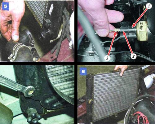 снятие и замена радиатора