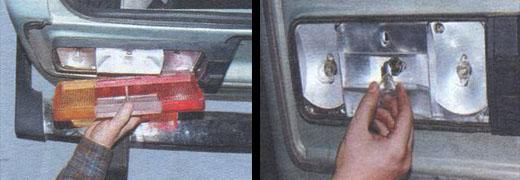 замена ламп задних фонарей ваз 2106