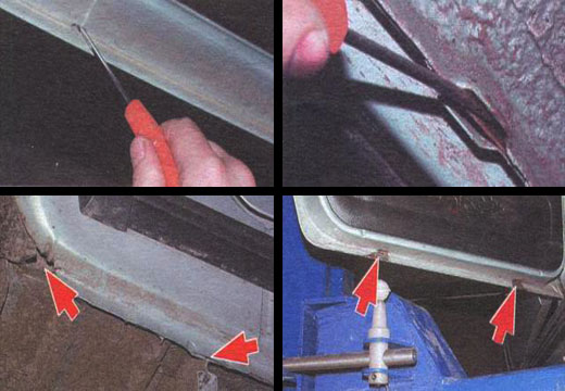 защита порогов автомобиля ваз 2106 чистка дренажных отверстий