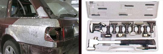 выравнивание поверхности путем рихтовки кузова автомобиля