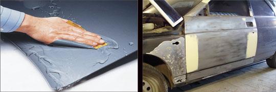выравнивание поверхности — обработка наждачной бумагой