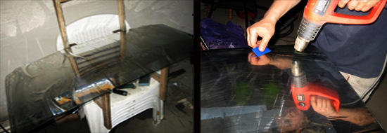 как затонировать полоску на лобовом стекле ваз 2106