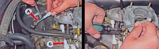 регулировка привода и воздушной заслонки карбюратора ваз 2107
