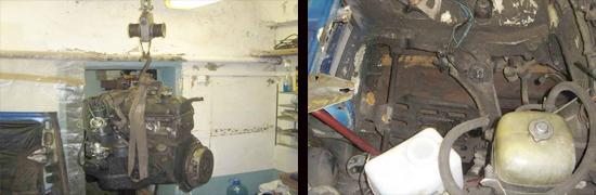 снятие инжекторного двигателя ваз 2107