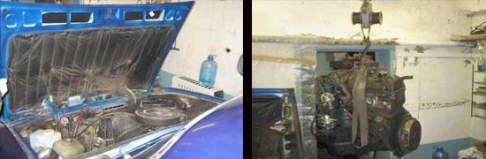 снятие карбюраторного двигателя ваз 2107