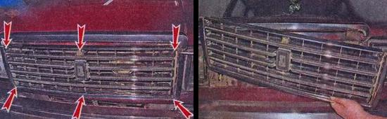 Снятие и замена решетки радиатора на автомобиле ваз 2105