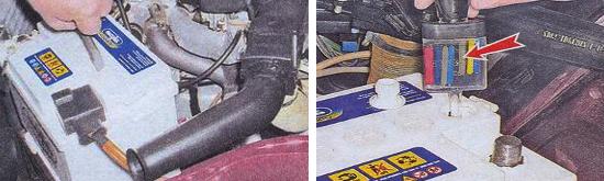 Проверка плотности электролита на аккумуляторе Ваз 2105