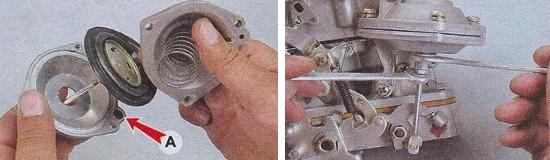 Установка и регулировка пневматического привода карбюратора Ваз 2105