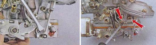 Снятие пневмопривода дроссельной заслонки карбюратора Ваз 2105