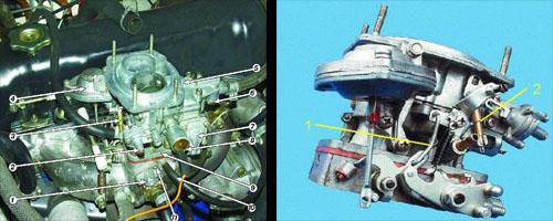 снятие и установка карбюратора автомобиля ваз 2106