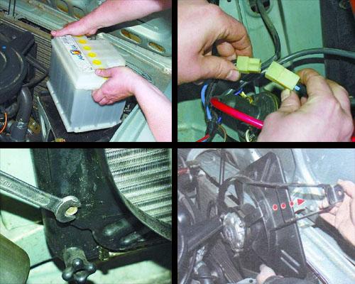 снятие и установка вентилятора радиатора автомобиля ваз 2106