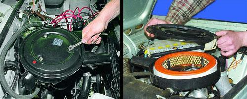 замена фильтрующего элемента воздушного фильтра на автомобиле ваз 2106