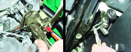 замена тяги привода воздушной заслонки автомобиля ваз 2106