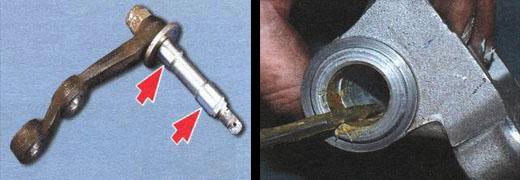 Произведите смазку трущихся деталей маятникового рычага