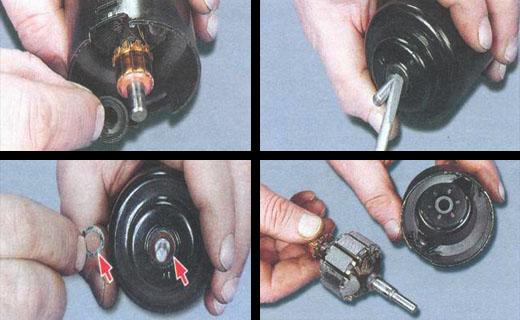 смазываем подшипники электродвигателя вентилятора отопителя ваз 2106