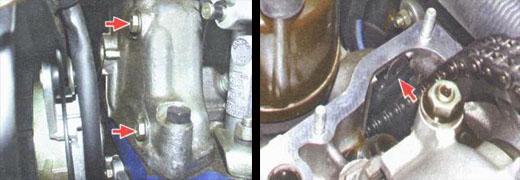 успокоитель цепи расположен на двигателе ваз 2106 и крепится двумя болтами
