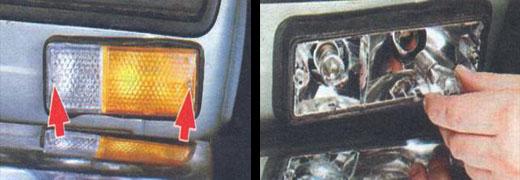 замена ламп в подфарниках автомобиля ваз 2106