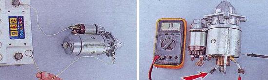 Проверка статорной обмотки и втягивающего реле стартера Ваз 2105
